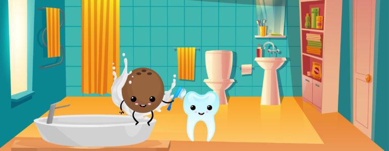 Illustrazione Olio di cocco oil pulling Igiene orale